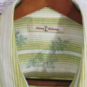 Tommy Bahama Shirts - Tommy Bahama Green & White Linen Long Sleeve XXL